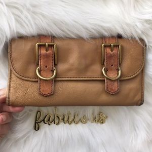 Fossil key tan & brown leather wallet